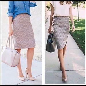 J. Crew metallic pencil zipper skirt